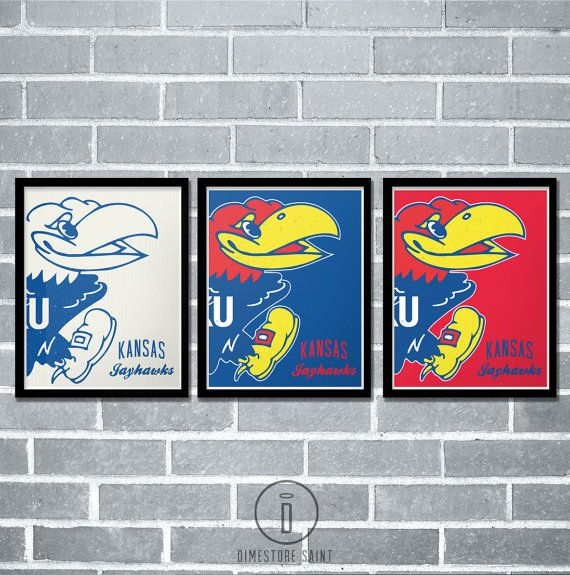 Kansas Jayhawks Graphic Print  University of Kansas Poster by Dimestore Saint