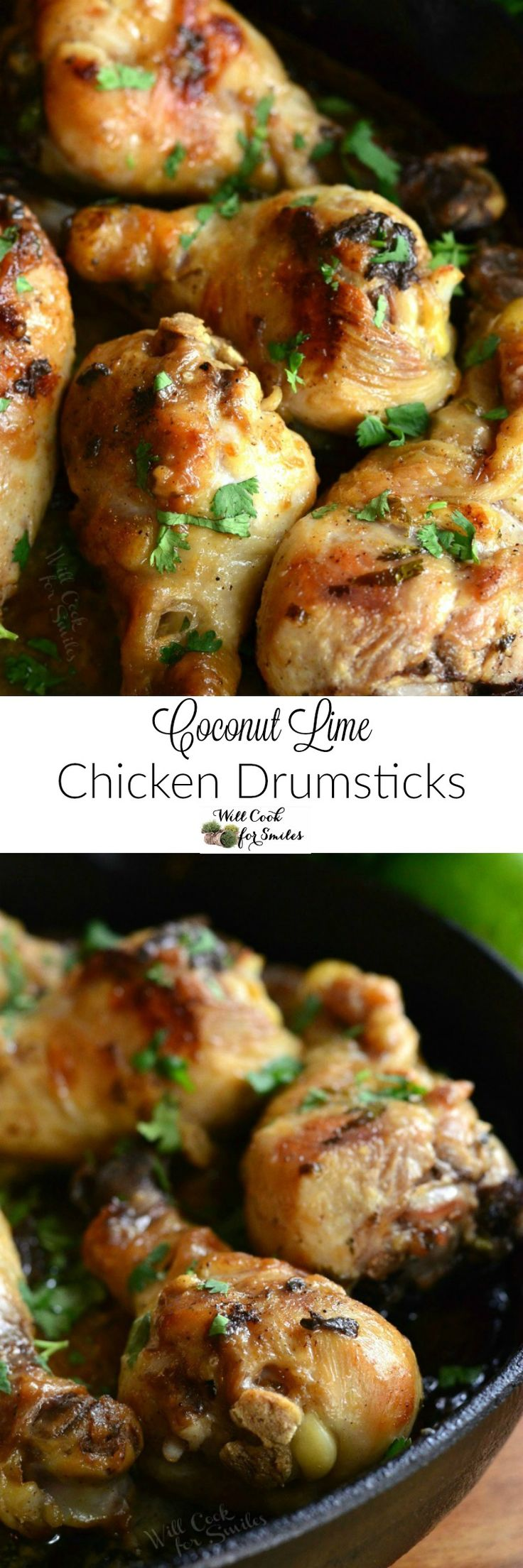 Coconut Lime Chicken Drumsticks. Juicy, flavorful chicken drumsticks made with coconut milk, fresh lime juice, cilantro, and chili powder. Great flavors with a touch of sweetness.