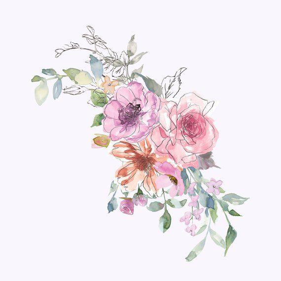 Watercolor Subtle Pastels Flowers Clipart Sketch Style Etsy