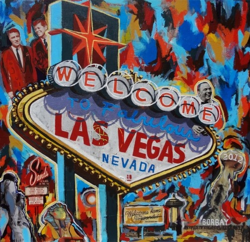 Welcome To Las Vegas Sign Painting by Borbay 2012