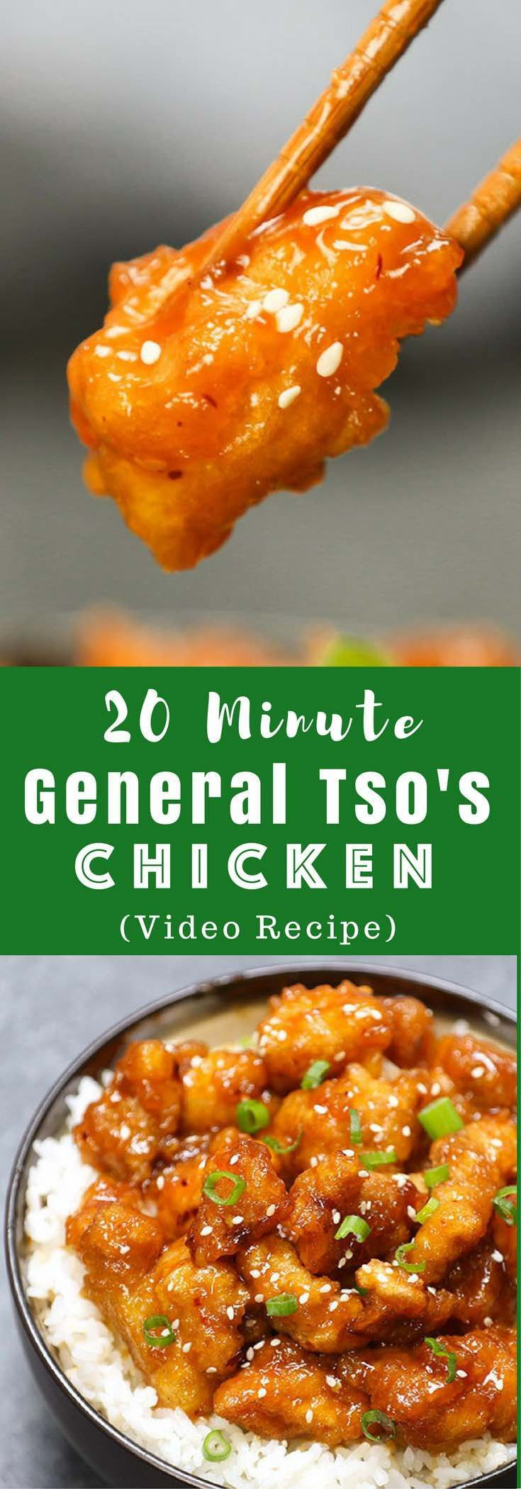 Better than take-out General Tso's Chicken for the perfect easy weeknight dish- crispy, tender and sweet! It will be on your dinner table in 20 minutes. All you need is just a few simple ingredients: chicken breast, corn starch, garlic, ginger hoisin sauce, soy sauce, rice vinegar and sugar. So delicious! Easy dinner recipe. Video recipe. | Tipbuzz.com