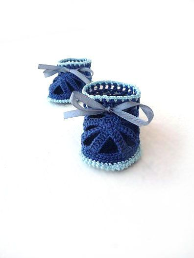 Crochet Baby Boy booties  Crochet Baby Sandals  by KnittyStories