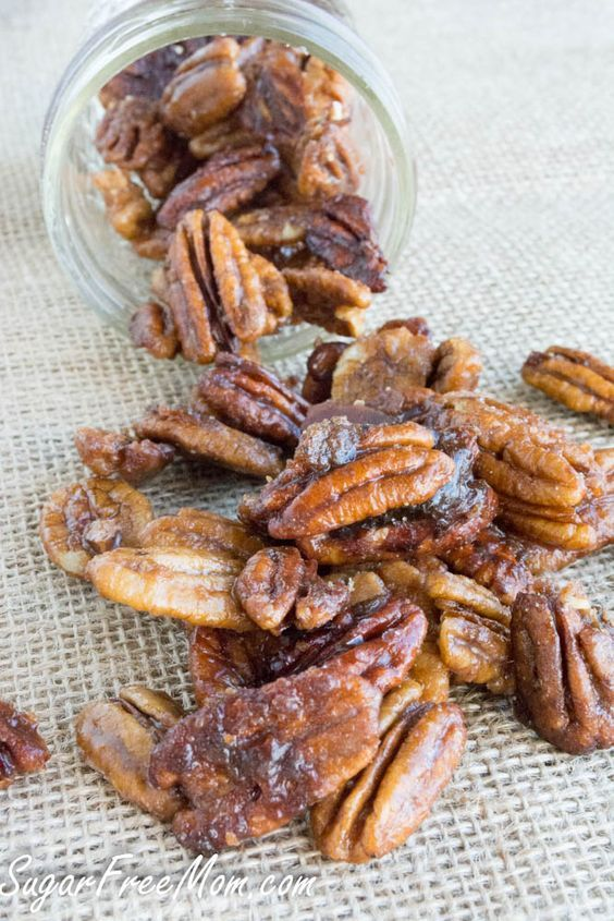 Sweet candied pecans made low carb and sugar free!