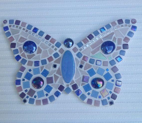 Beautiful Mosaic Butterfly Wall Plaque / Art by PineappleMosaics
