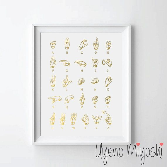 Gestuelle III feuille d'or Print, impression personnalisée en or, Illustration Art Print, signer la feuille d'or Art Print, langue des signes américaine, ASL Print