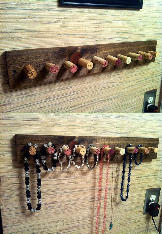 Repurposed Wine Cork Necklace Holder                                                                                                                                                      More