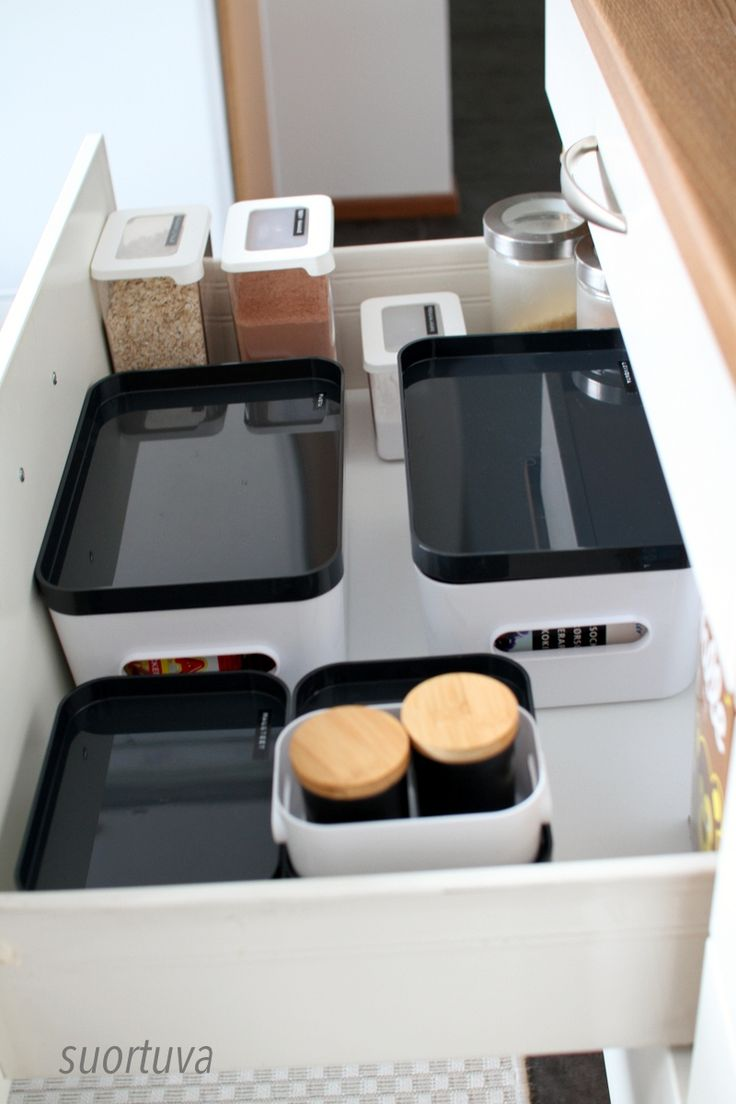 Kitchen pantry organized with SmartStore™ Compact and GastroMax™ storage boxes.