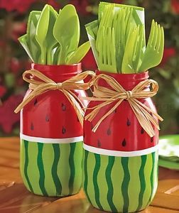 WATERMELON SET OF 2 PAINTED MASON JARS PATIO KITCHEN TABLE DECK OUTDOOR DECOR
