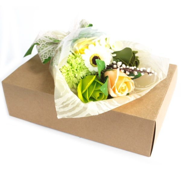 Luxury Soap Flowers In A Gift Box Greens Each Bouquet Contains