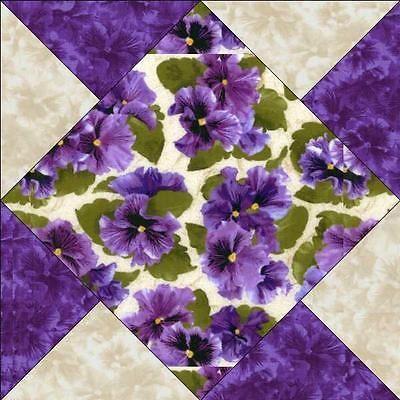 Debbie-Beaves-Lovely-Purple-Cream-Lavender-Floral-Pansy-Fabric-Quilt-Block-Kit
