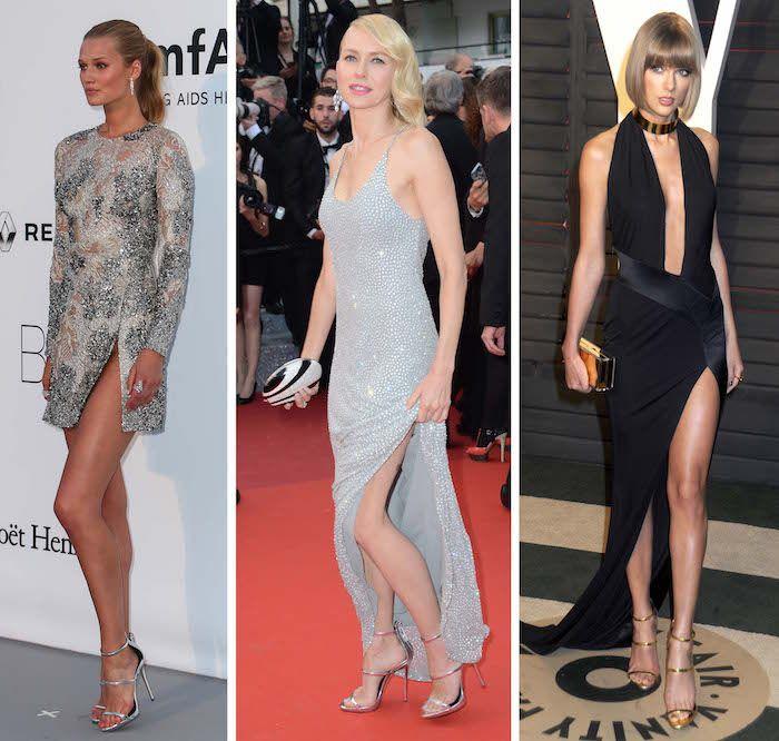 "Toni Garrn, Naomi Watts, and Taylor Swift wearing Giuseppe Zanotti's ""Harmony"" sandals"