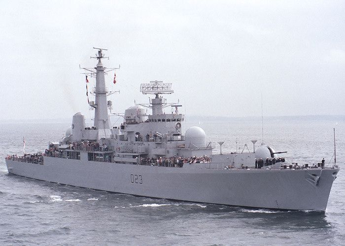 """Royal Navy - """"HMS BRISTOL"""" (D23) was a (507') British Type 82 Destroyer – Commissioned: 31 March 1973 – Crew: 30 Officers and 367 Enlisted – Armament: 1 x 4.5 Inch 114mm) Gun, 1 x Sea Dart (Surface-to-Air & Surface-to-Surface) Missile System, 1 x Ikara Anti-Submarine Missile System and 1 x Three Barreled Depth Charge Mortar – Was Payed Off in 1991 and Became the Britannia Royal Naval College Training Ship. Bristol is now Permanently Berthed at Whale Island, Portsmouth, UK"""