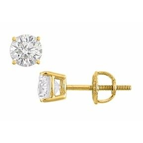 1.00 Ct Round Cut Cubic Zirconia Stud Earrings In 14K Yellow Gold by JewelryHub on Opensky