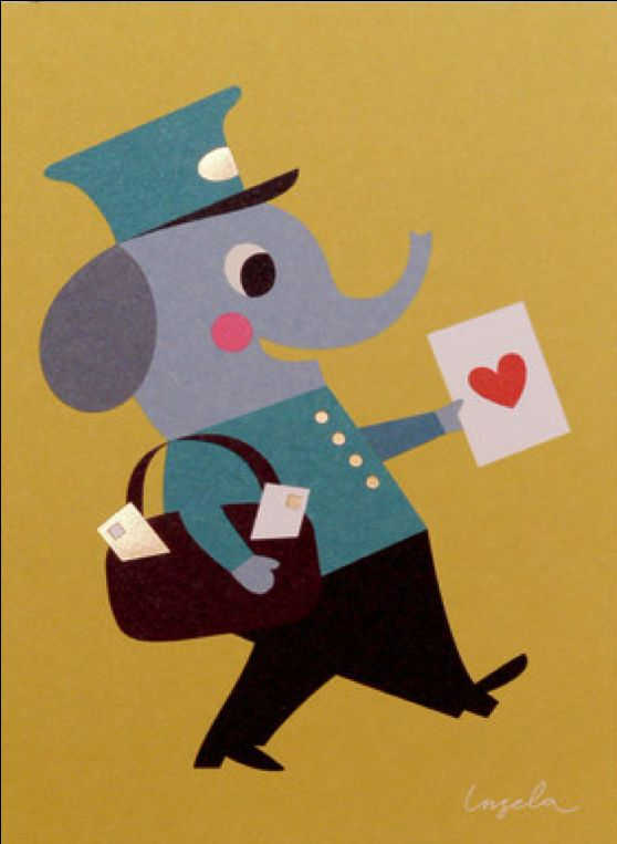 Greeting #card #love #post #Elephant #valentine by #Ingela P #Arrhenius from www.kidsdinge.com https://www.facebook.com/pages/kidsdingecom-Origineel-speelgoed-hebbedingen-voor-hippe-kids/160122710686387?sk=wall #kidsdinge #toys #speelgoed