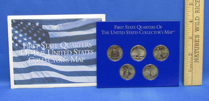 1999 - 2000 United States Mint 50 State Quarters Collectors Map GA CT MA MD SC
