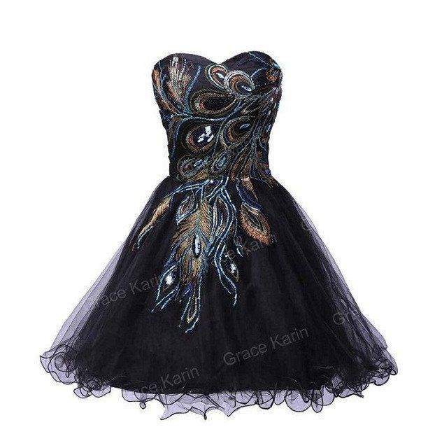 NOW DISCOUNTED! ONLY $50!!  2017 Designer Short Black Peacock Cocktail Dress  Shop24seven365.com.au