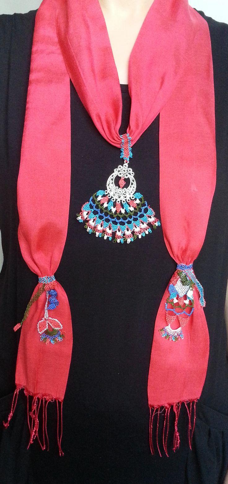 Turkish needle lace red cotton foulard. www.esty.com/shop/crafteller