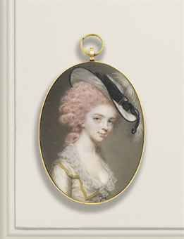JOHN SMART (BRITISH, 1742/1743 - 1811) Portrait of Mary Lewin, née Hale (1768-1837) She is probably wearing pink or red hair powder.
