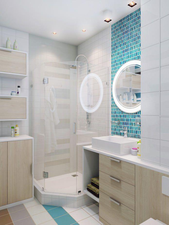 ванная комната с душевой кабиной в дизайне квартиры 37 кв. м.