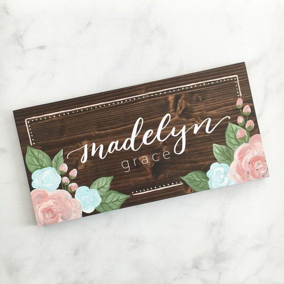 Wood Sign - Floral Name Sign || Nursery Wood Sign, Handpainted Sign, Bohemian Nursery Decor, Nursery Wall Art