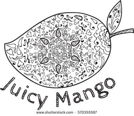 Mandala style illustration of  a mango, a juicy tropical stone fruit drupe belonging to the genus Mangifera set on isolated white background with the word text Juicy Mango done in black and white.  #mango #mandala #illustration