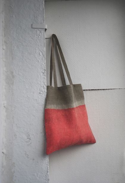 Дизайн и изготовления - Елена Ква. Льняная сумка Розовый неон.