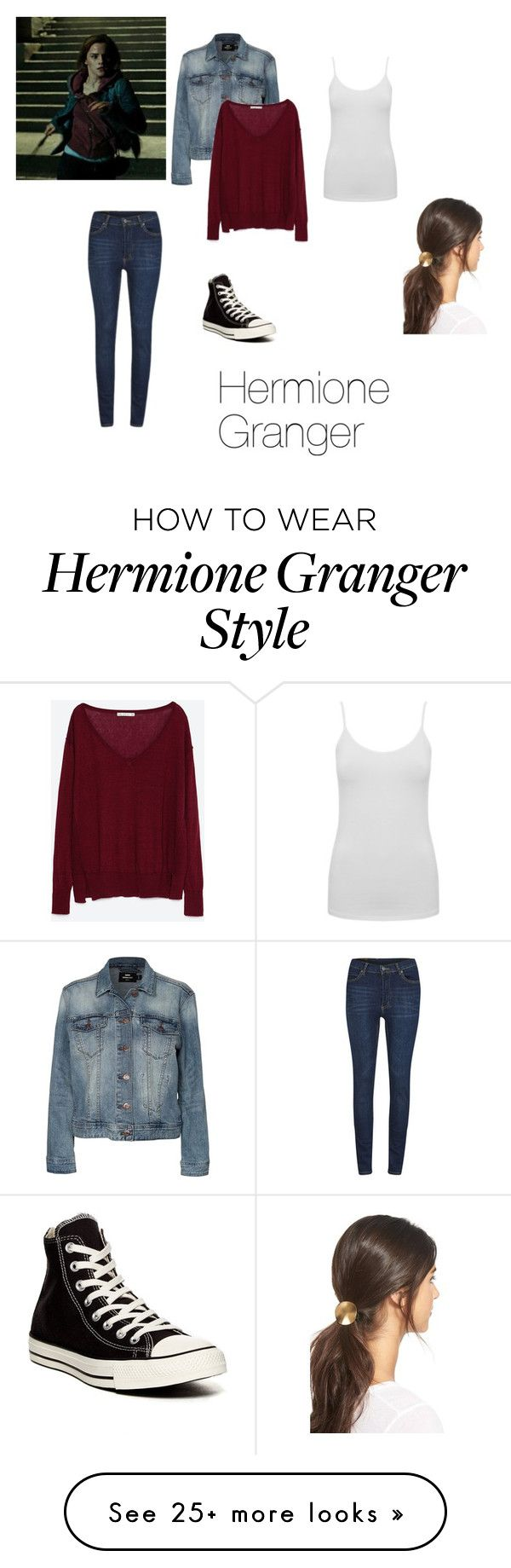 """""""Hermione Granger"""" by estexime on Polyvore featuring M&Co, Dr. Denim, Zara, Cheap Monday, Mrs. President & Co. and Converse"""