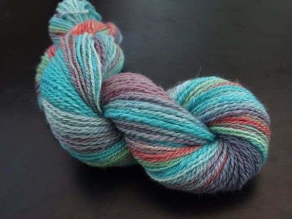 Summer at the sea- hand spun, hand dyed yarn.  100% wool.  This hand painted yarn is available on Etsy!