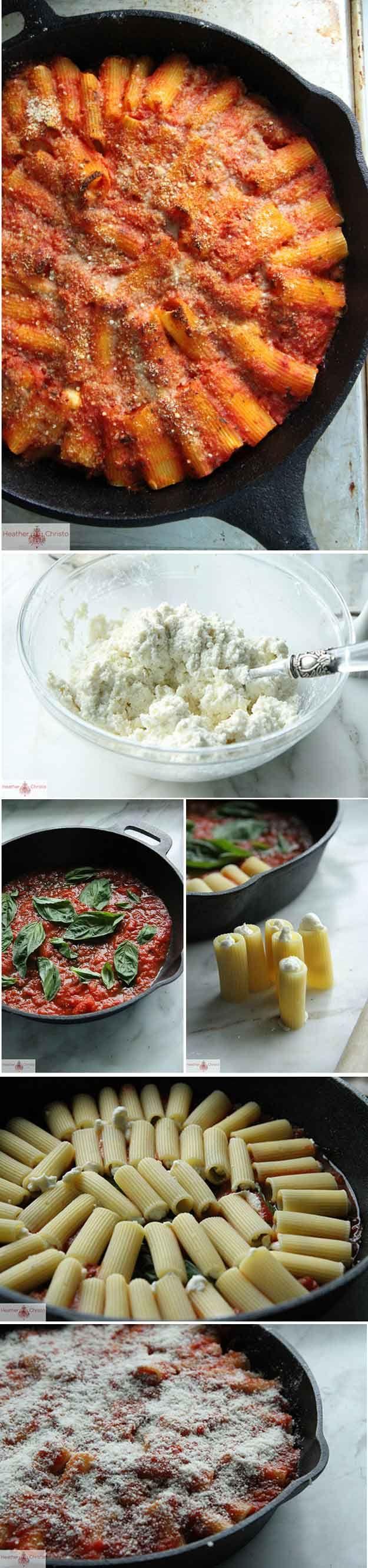 Skillet Baked Stuffed Rigatoni | 21 Savory Cast Iron Skillet Dinner Recipes