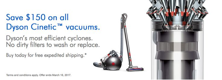 Dyson Canada Sale: Save $150 on all Dyson Cinetic Vacuums  Save $80 on V6 Mattress http://www.lavahotdeals.com/ca/cheap/dyson-canada-sale-save-150-dyson-cinetic-vacuums/180910?utm_source=pinterest&utm_medium=rss&utm_campaign=at_lavahotdeals