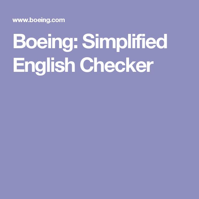 Boeing: Simplified English Checker