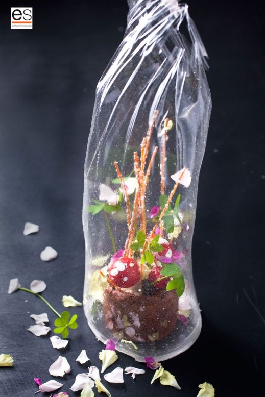 Flowers In A Vase Made Of Chocolate Wrapped In Sugar