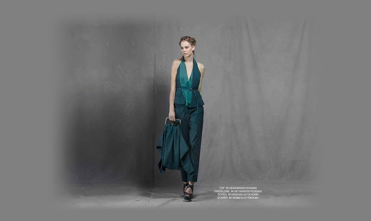 Malloni Black Collection S13 #slacks #trousers #pants #shoes #bag #top #pantalone #borsa #scarpa