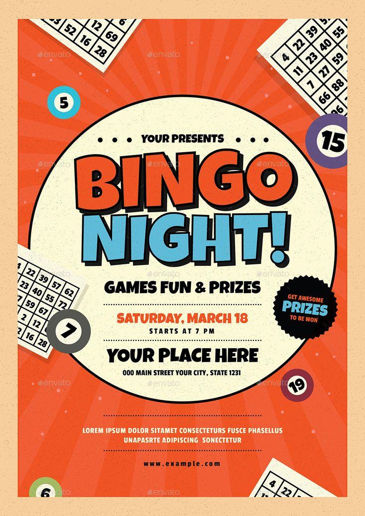 Bingo Night Event Flyer Bingo, Disenos de unas y Letreros