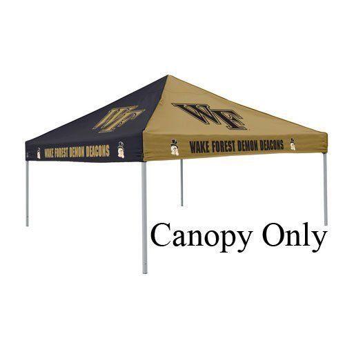 Logo Wake Forest black/Gold Replacement Canopy by Logo. $99.95. 9 ft x 9 ft pop-up two color polyester tent canopy. Team logos on all four sides. Frame NOT included. Please Note: Due to the size of this item, it is not eligible for Expedited shipping. Large 9? x 9? area canopy (does not include tent frame). Durable water resistant canopy made of 500 denier polyester with school logos on all four sides. Fits only Logo Brand tent frames.. Save 33% Off!