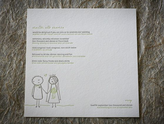 Letterpress wedding stationery. Our 'Fairy Tale' illustration design. Letterpress printed in two colours on our stunning cotton 300gsm paper.