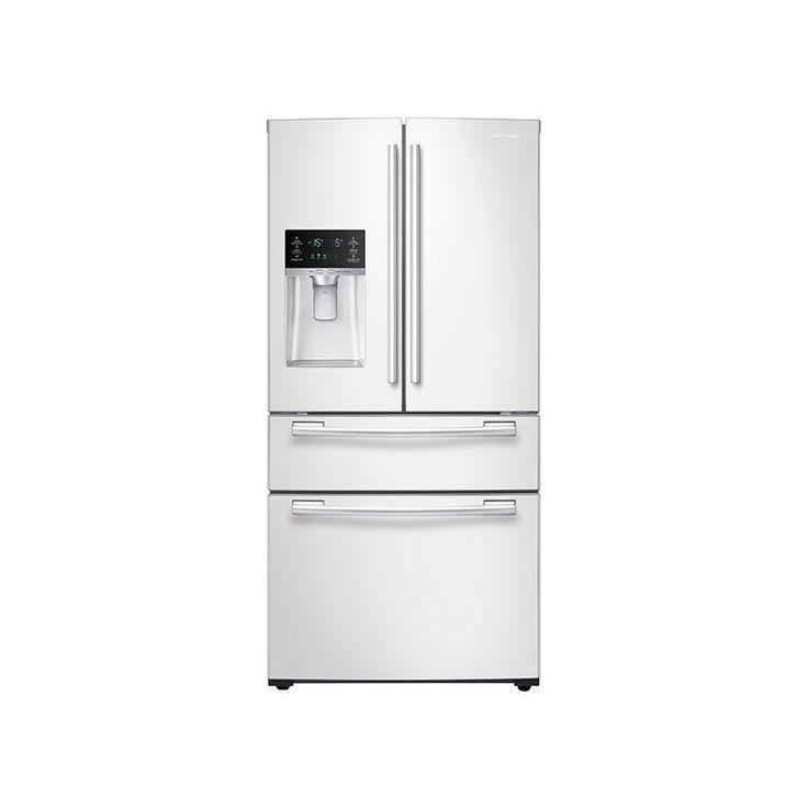 """Samsung RF25HMEDB 25 Cu. Ft. Capacity 33"""" Wide 4-Door French Door Refrigerator w White Refrigerators French Door Fridge"""