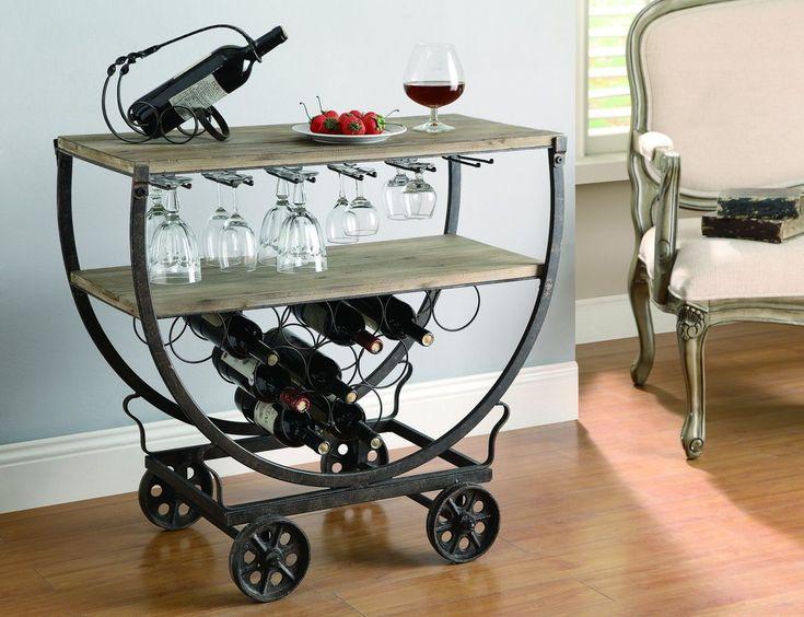 Fresh Bar Cart with Glass Rack