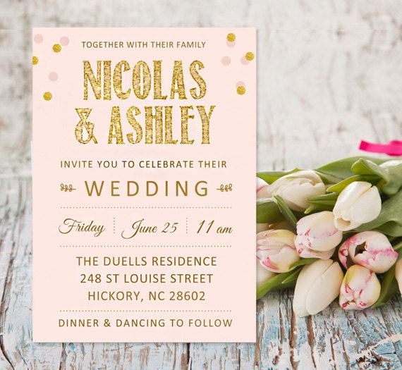 91 best Pink and Gold Wedding Invitations images on Pinterest