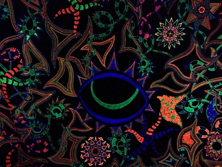 The Eye - by Billie De Beer  Psytrance Art works Glow in the Dark and UV wall art - 3m x 2.4m  Available on  http://sherrynssecret.com/index.php?route=product/category&path=126