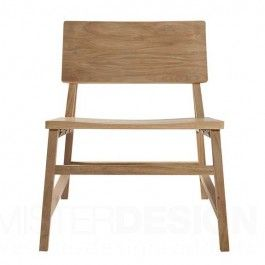 De N2 Lounge Chair Stoel van Ethnicraft is een prachtig strak belijnde loungestoel. De N2 loungestoel is vervaardigd van volledig massief hout waardoor de stoel een karakteristieke en rustieke uitstraling krijgt.  Kenmerkend aan de N2 loungestoel is de fijne belijning gecombineerd met het prachtige massieve eiken of teak.  De stoel is verkrijgbaar in de volgende uitvoering: - b. 59 x h. 70 x d. 69 cm.  Hoogte zitting: 40 cm.