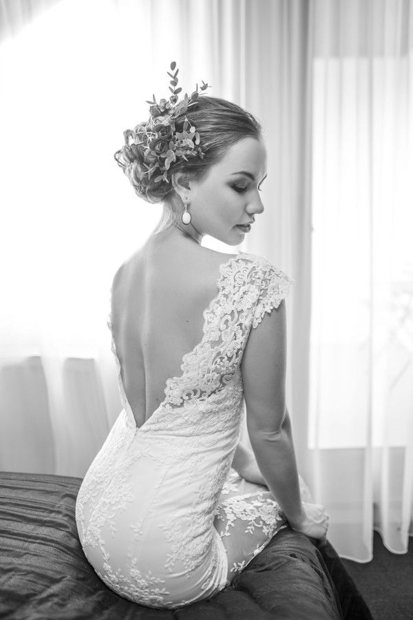 Wedding dress with naked back.