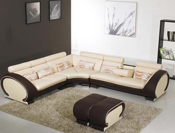 Vig Furniture 816 Modern Cream And Brown Leather Sectional Sofa Modern Sofa Sectional Cheap Living Room Furniture