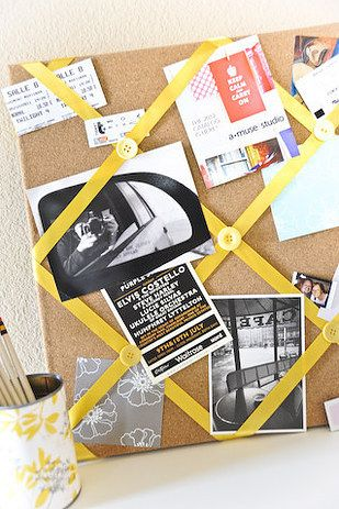 Use ribbon to create an inspiration board. | 17 Cool And Clever Ways To Repurpose Leftover Christmas Stuff