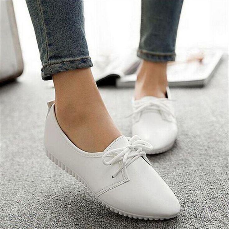Купить товарЖенщины лежа обувь чёрный / белый балетки шнуровка женские мокасины обувь женщина мокасины Sapato Feminino в категории Обувь на плоской подошвена AliExpress.