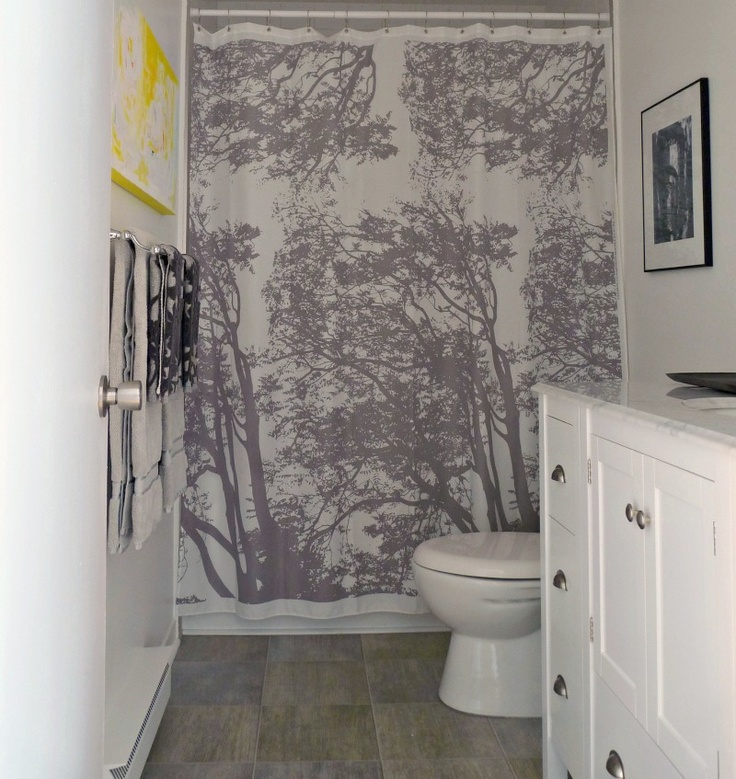 Our grey & yellow bathroom with Marimekko shower curtain - some better photos!