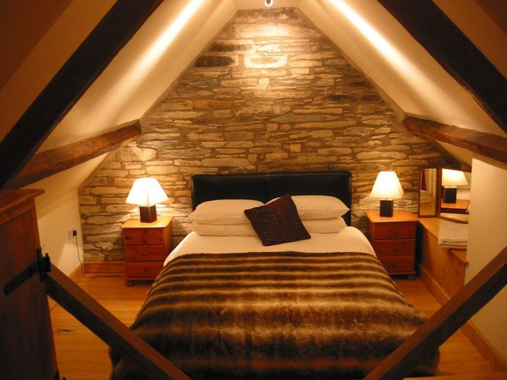 Simple Small Attic Bedroom Ideas With Stone Wallpaper Including Lamps Table  The Bedside As Well White