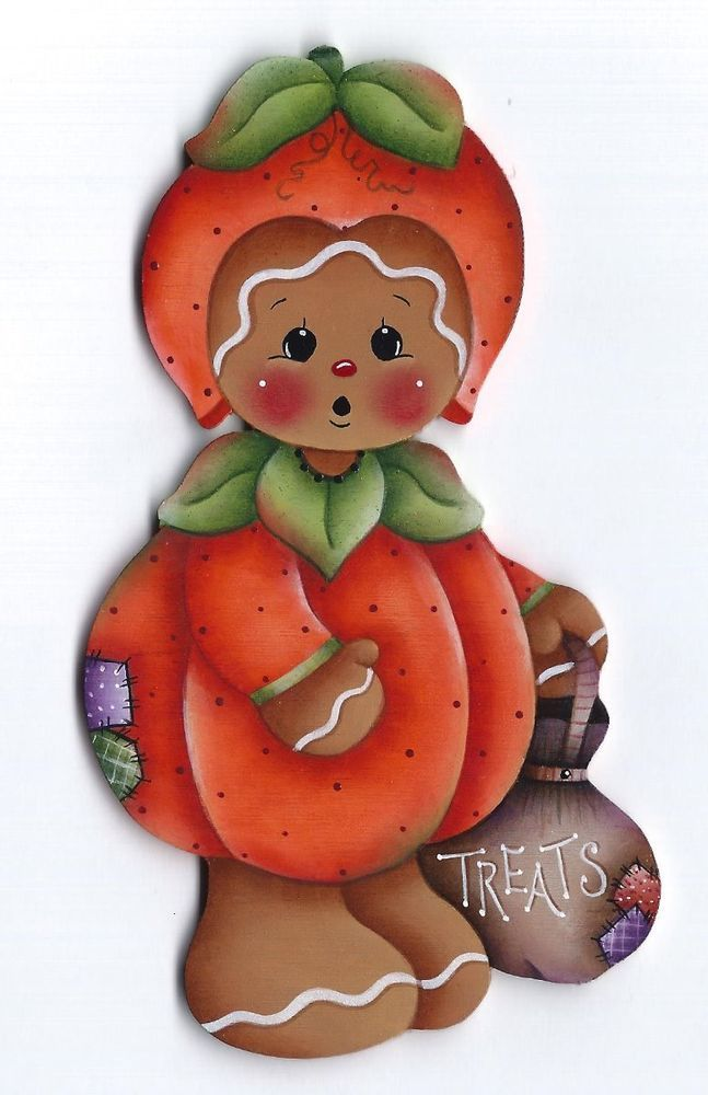 GINGERBREAD Pumpkin Halloween Costume - Handpainted by Pamela House