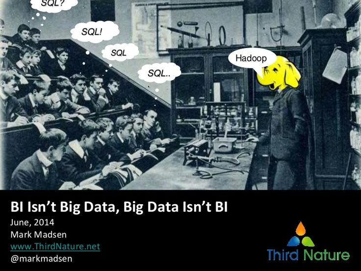 Big data is hyped, but isn't hype. There are definite technical, process and business differences in the big data market when compared to BI and data warehousi…