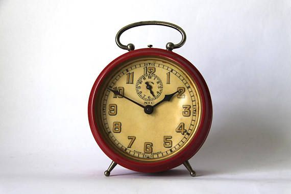 Large Vintage French Alarm Clock Pink Clock Up Cycled With Images